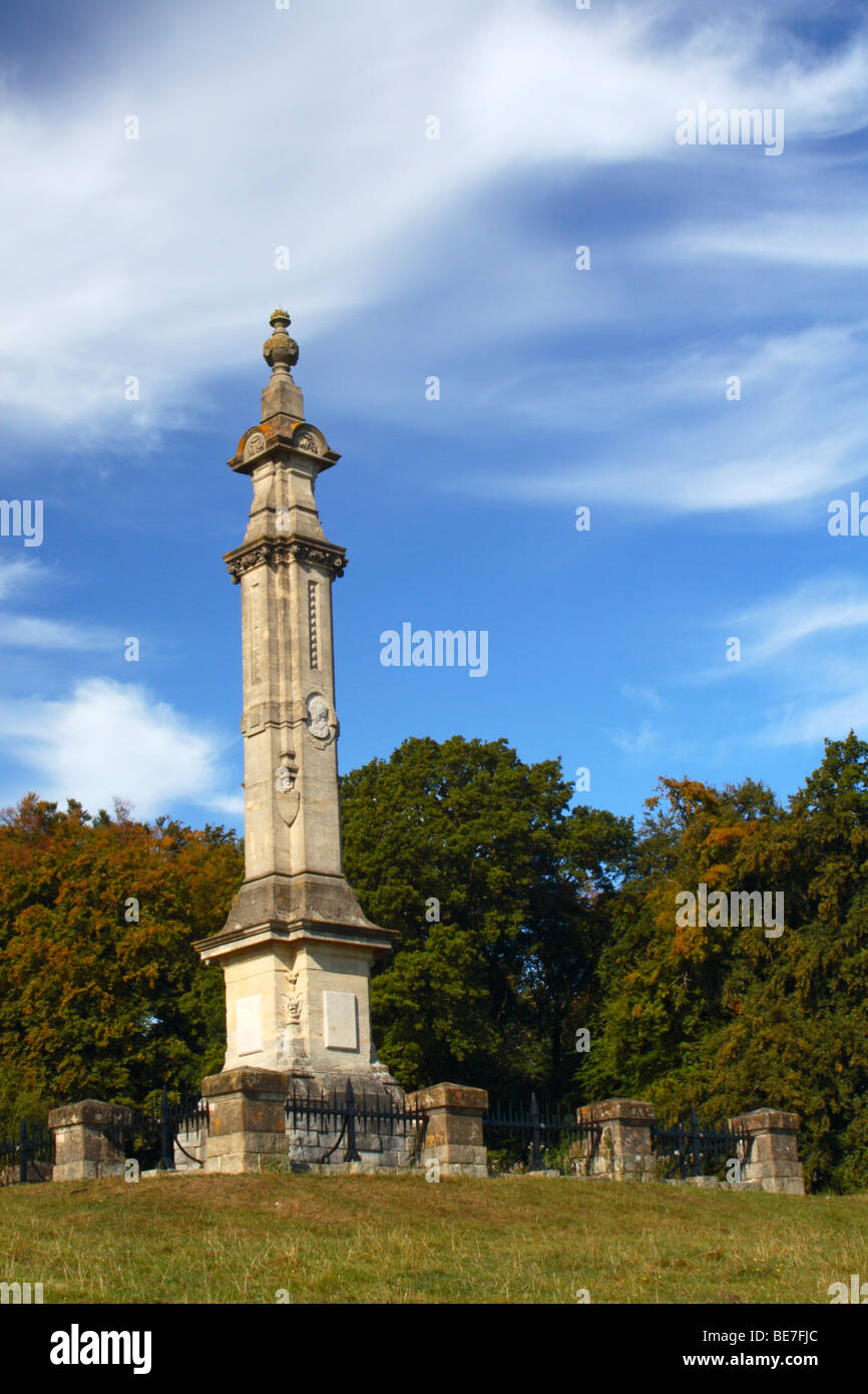 Edward Buckton Lamb's monument to Isaac Disraeli on the edge of Tinker Woods in High Wycombe, Buckinghamshire, - Stock Image