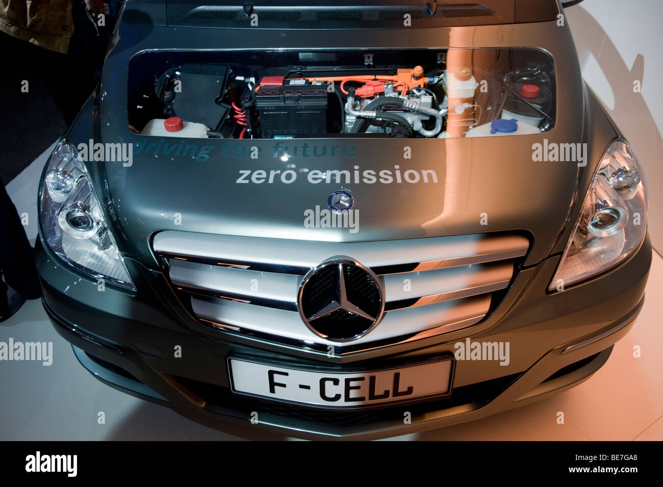 Detail of Mercedes with hydrogen fuel cell engine on display at the Frankfurt Motor Show 2009 - Stock Image