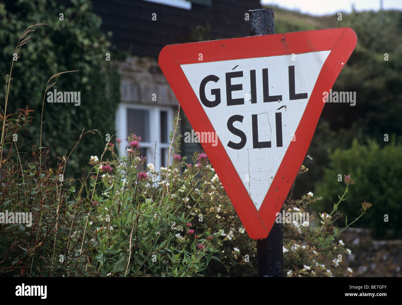 Republic of Ireland, County Waterford, Ardmore, Gaeltacht traffic sign - Stock Image