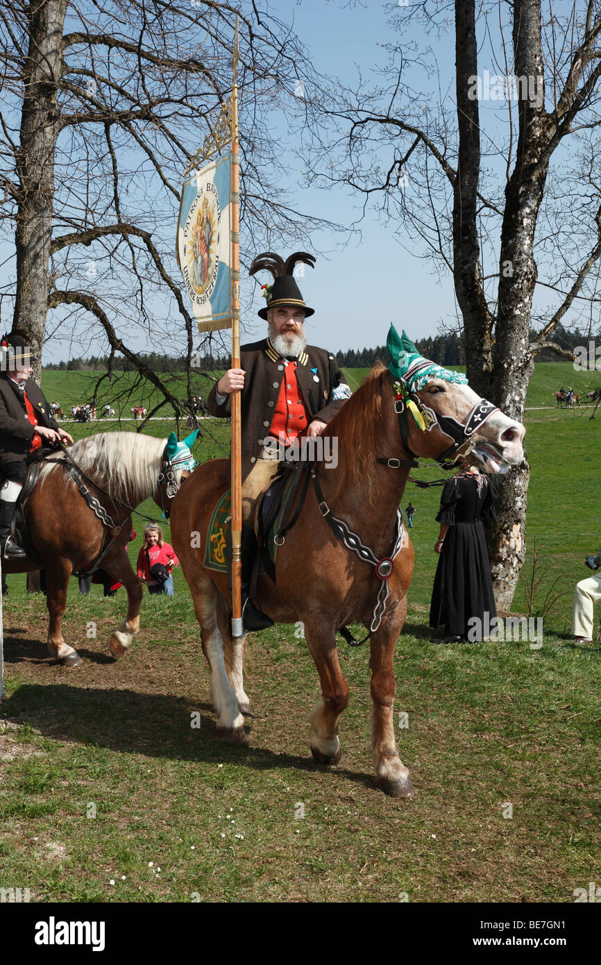 Georgiritt, George's Ride, Easter Monday procession to the Ettendorf Church, Traunstein, Chiemgau, Upper Bavaria, Stock Photo