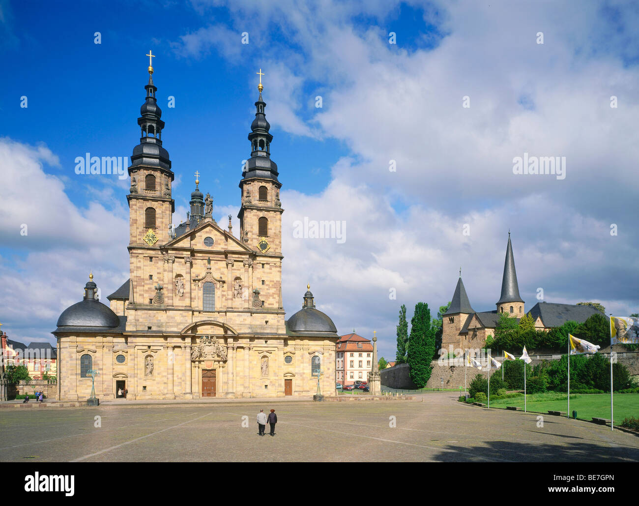 Cathedral, built by J. Dientzenhofer 1704-1712 with the romanic chapel of Saint Michael, Fulda, Hesse, Germany, - Stock Image