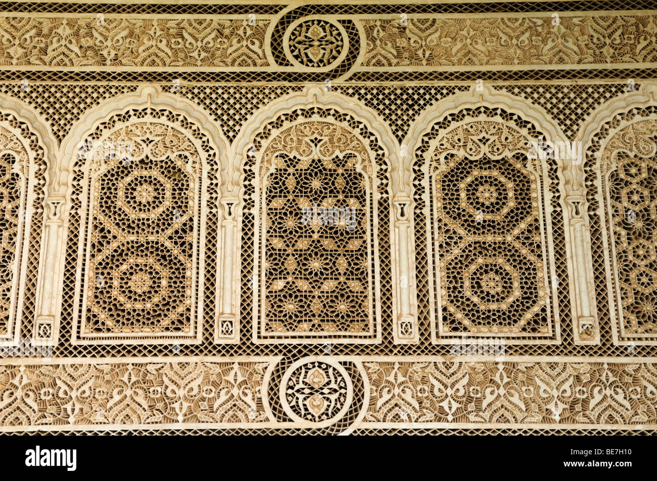 Morocco; Marrakech; Bahia Palace; Decorative Stucco Work - Stock Image