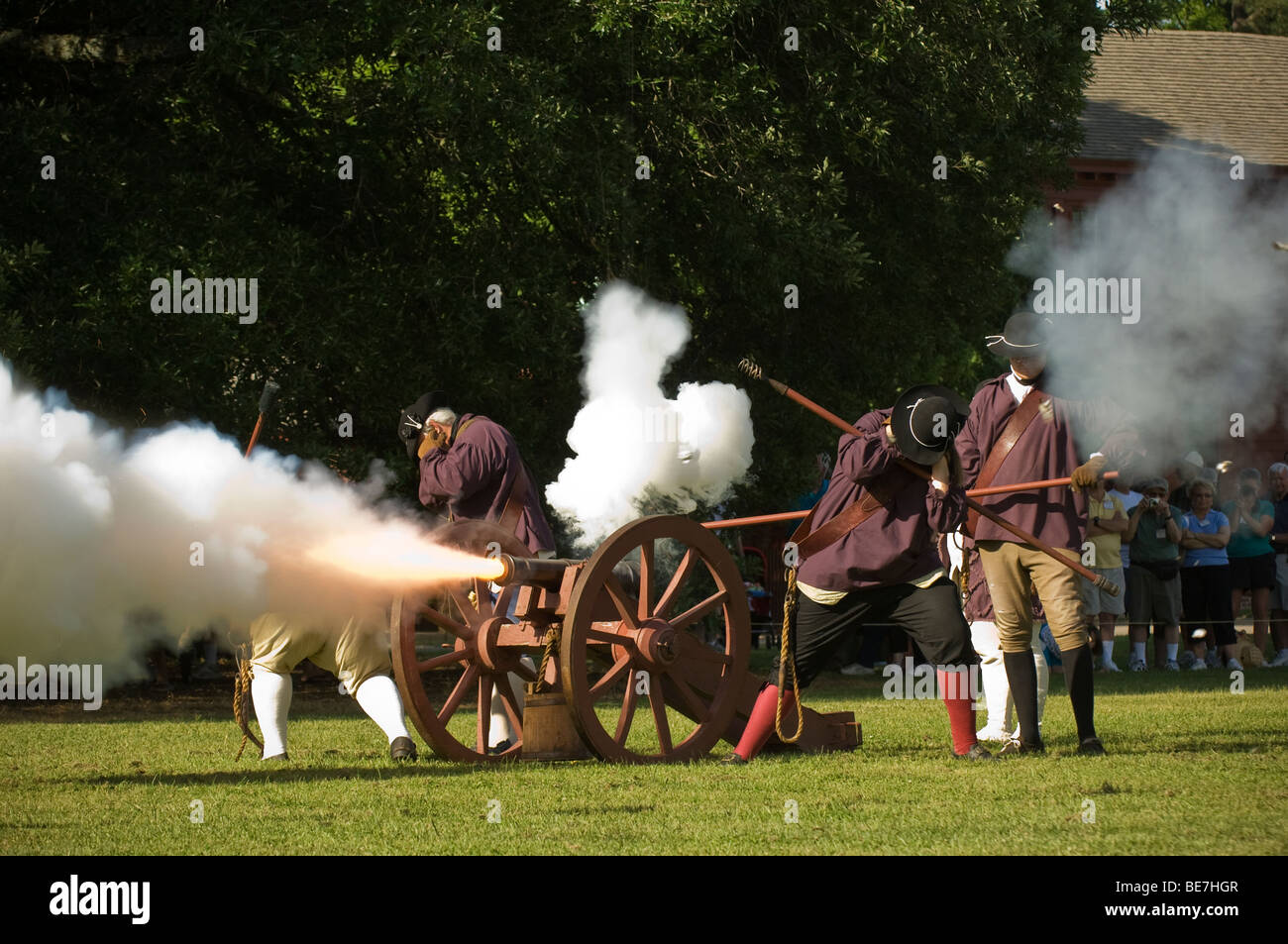 Firing the canon at Colonial Williamsburg Stock Photo