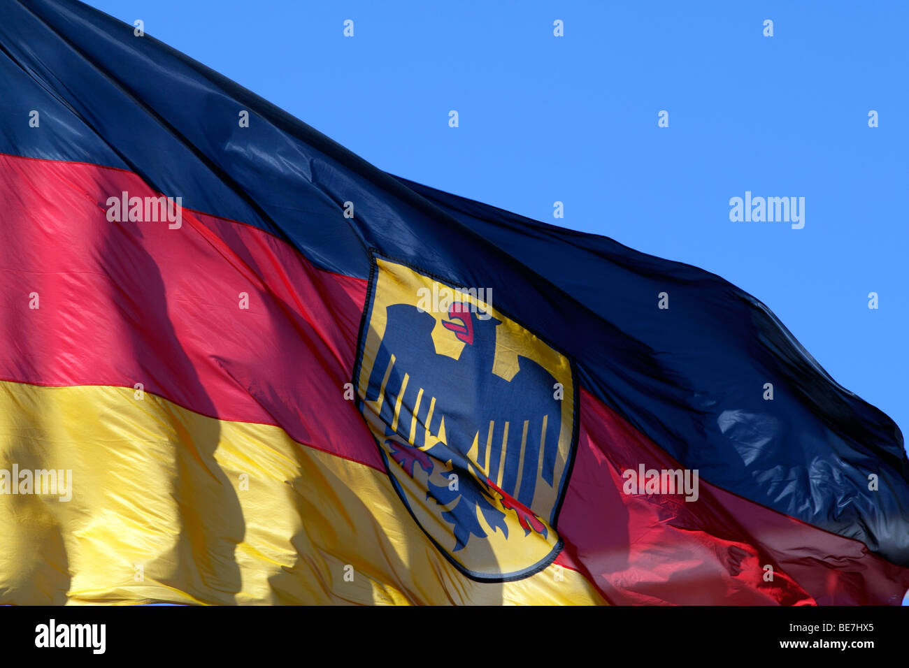 Berlin, the flag of the federal authorities of Germany. EU/DE/DEU/GER/Europe/Germany, capital Berlin, the flag of - Stock Image