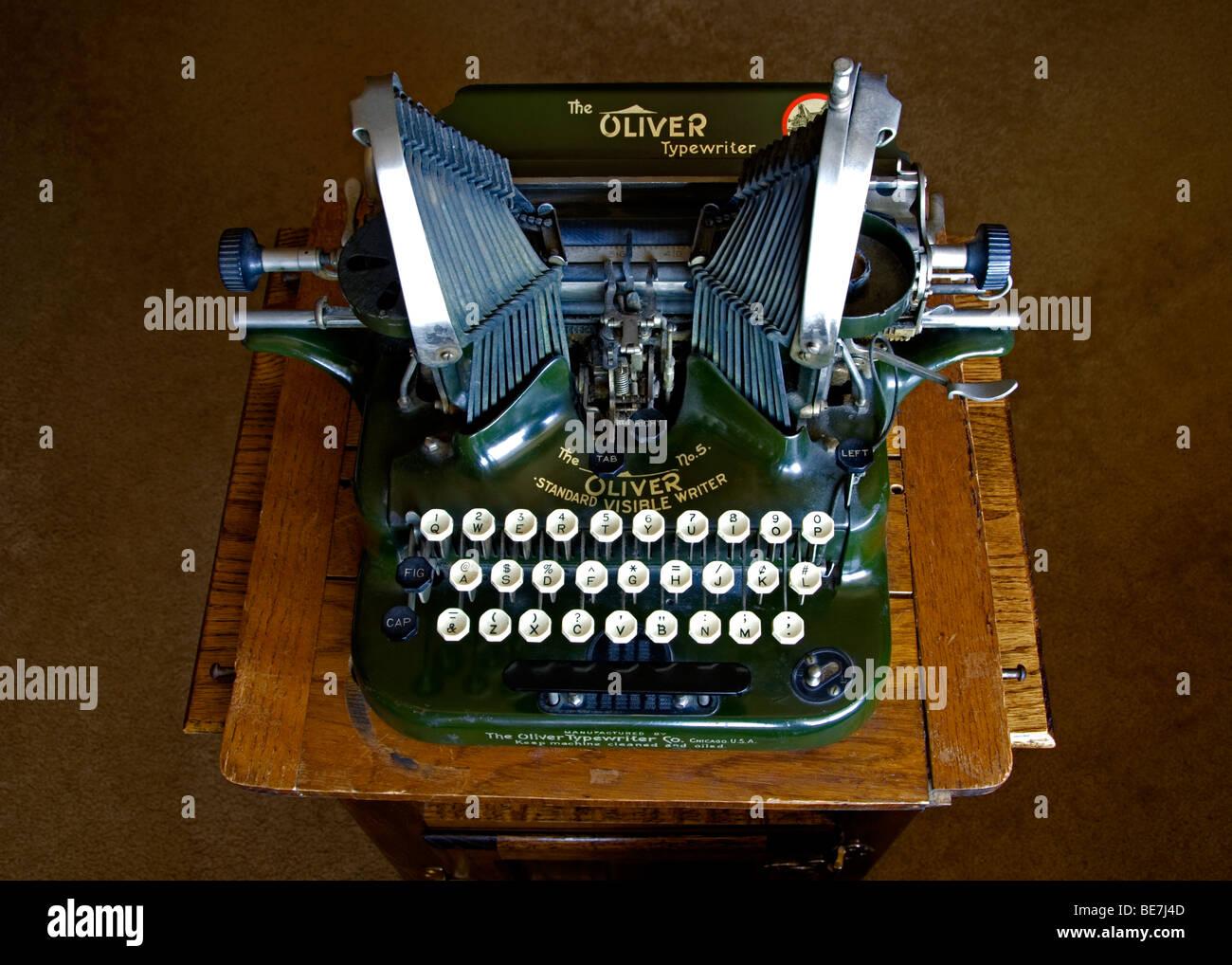 Closeup of Oliver No. 5 typewriter, Colorado US. This typewriter was manufactured between 1907-1914 in Chicago, - Stock Image