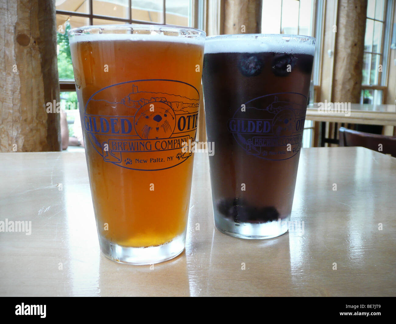 IPA and summer porch lager, Gilded Otter Brewery, New Paltz, NY - Stock Image