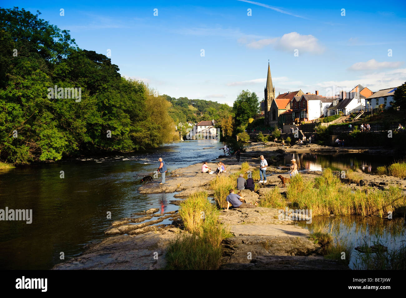 The River Dee flowing through Llangollen town, north wales UK, late summer afternoon Stock Photo