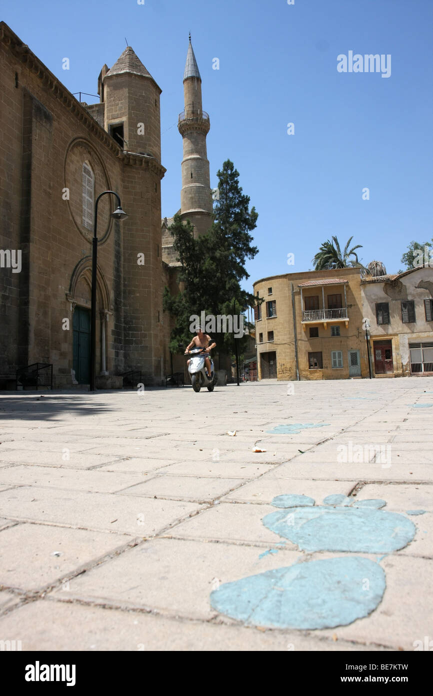 Large blue footprint leading to the Selimiye Mosque, originally the Saint Sophia Cathedral, Nicosia, Cyprus. - Stock Image