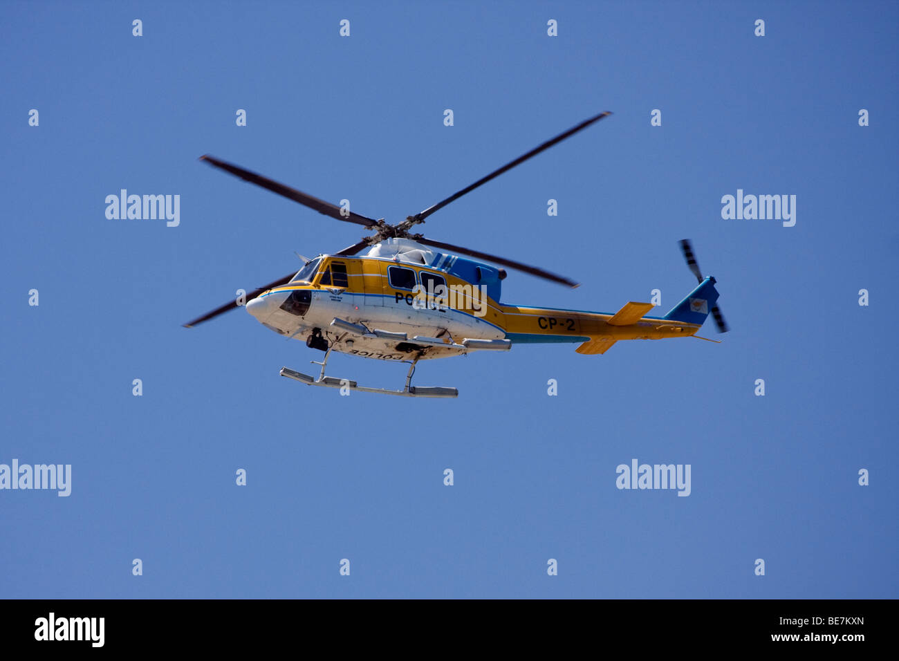 Cypriotic police helicopter on the southern, Greek Cypriotic side. - Stock Image