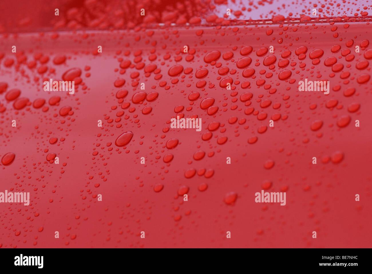 Raindrops on Motor Car Paintwork Stock Photo