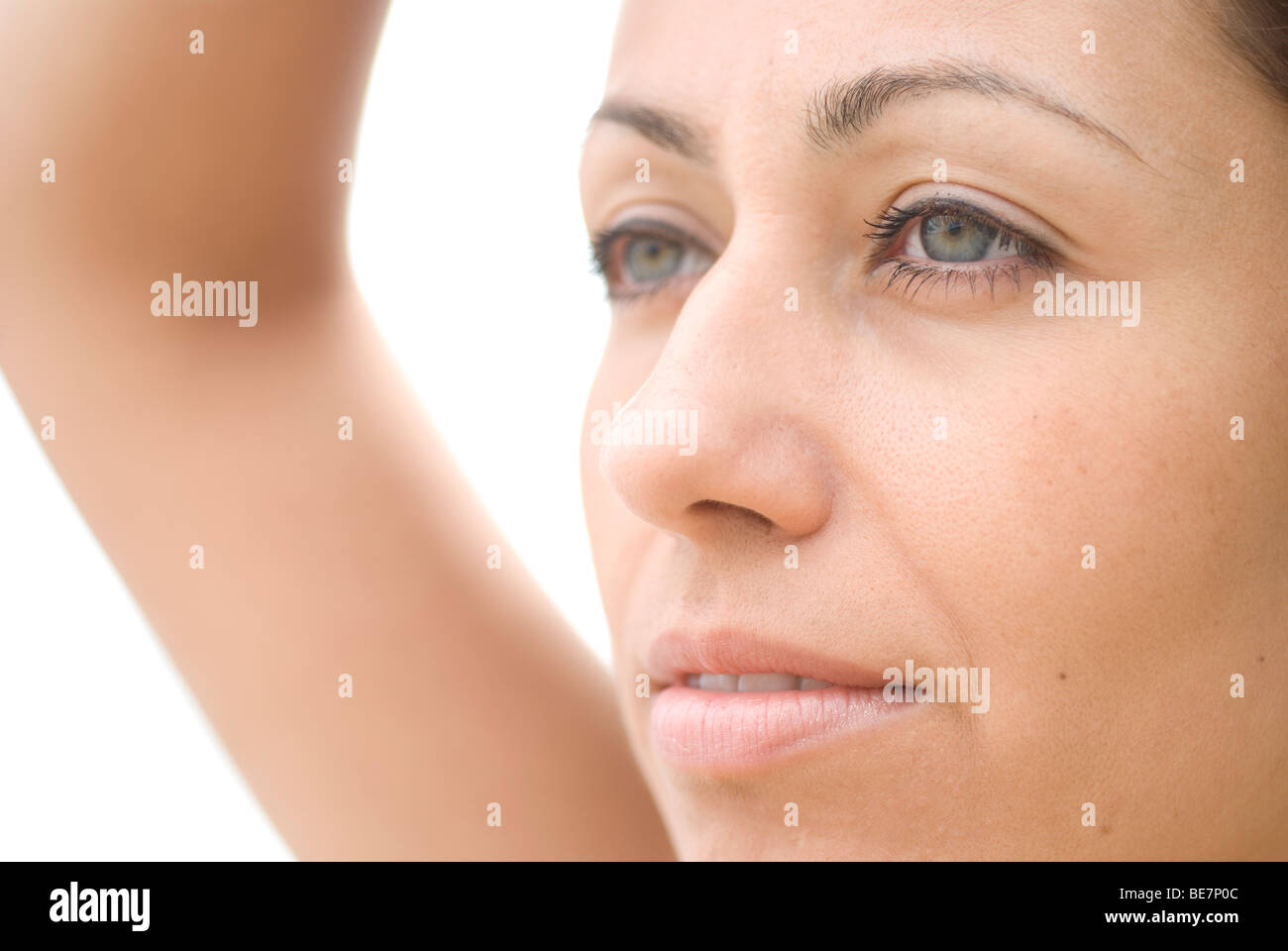 Portrait of young woman profile - Stock Image