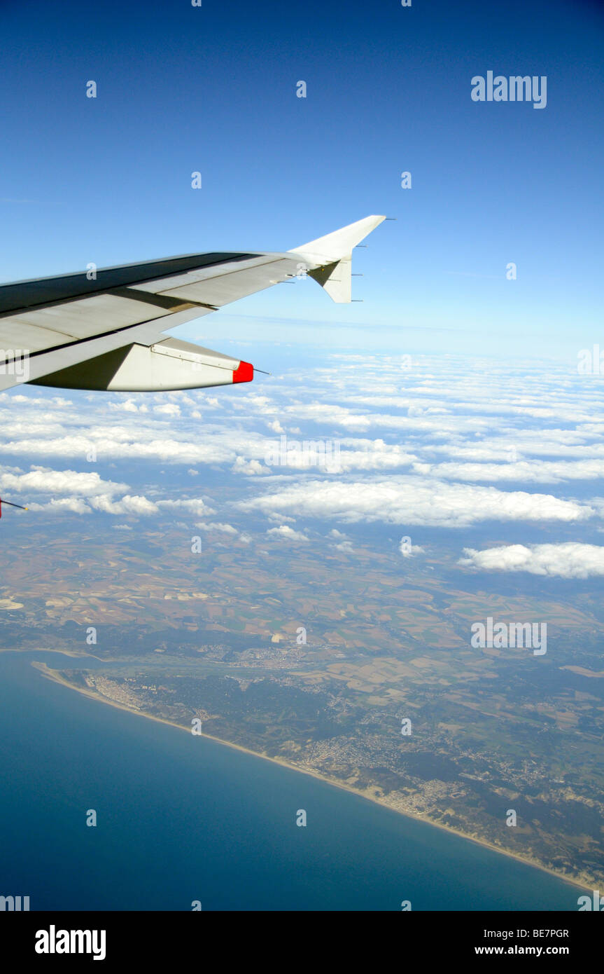 Aircraft crossing the coast of Northern France - Stock Image