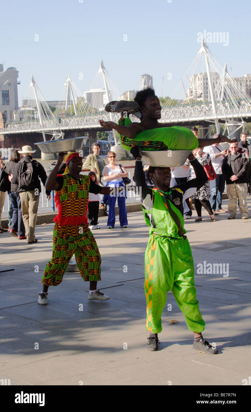 Street entertainers at the South Bank London September 2009 - Stock Image
