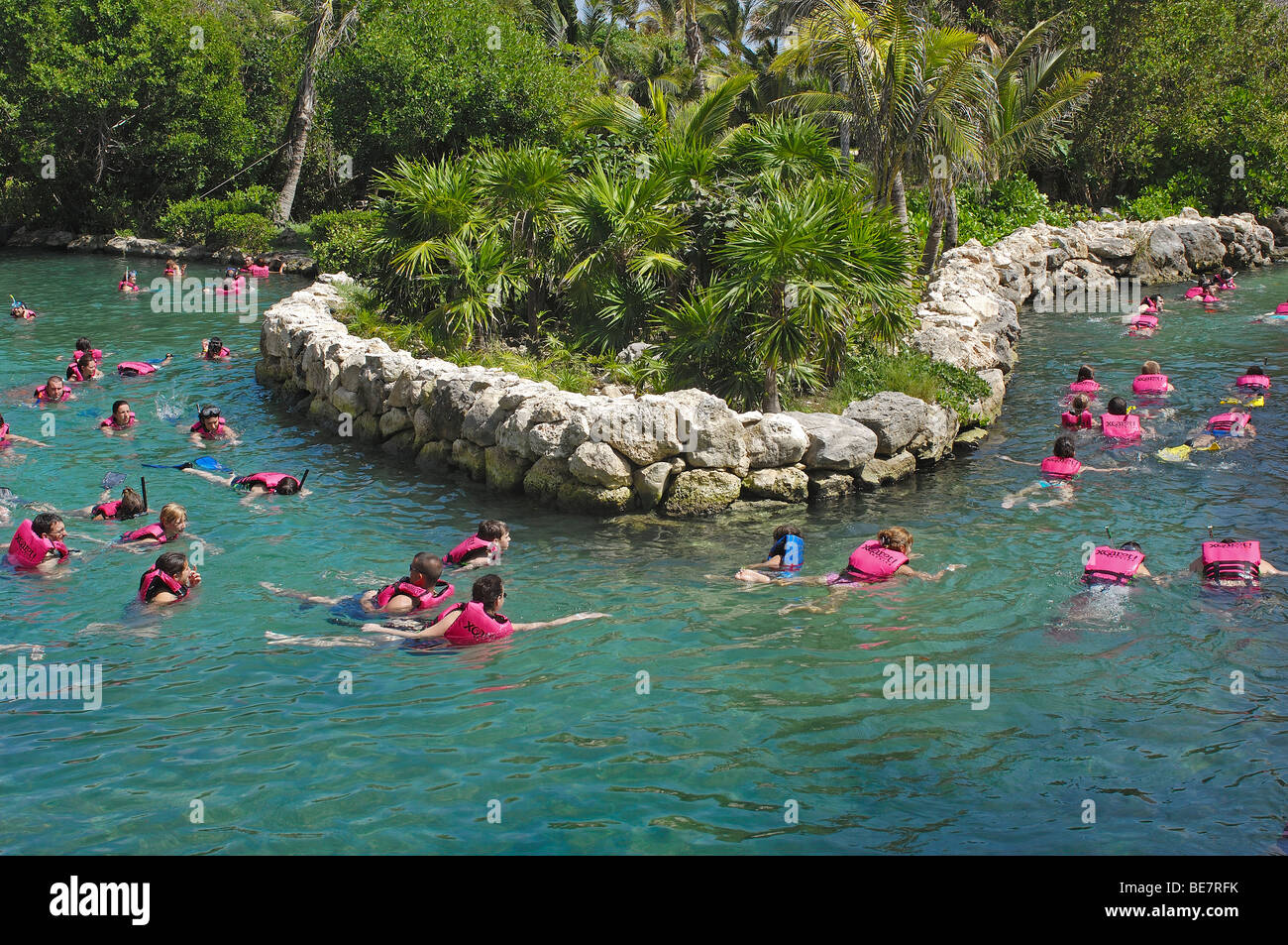 People Swimming In The Underground River Xcaret Playa Del Carmen Quintana Roo State