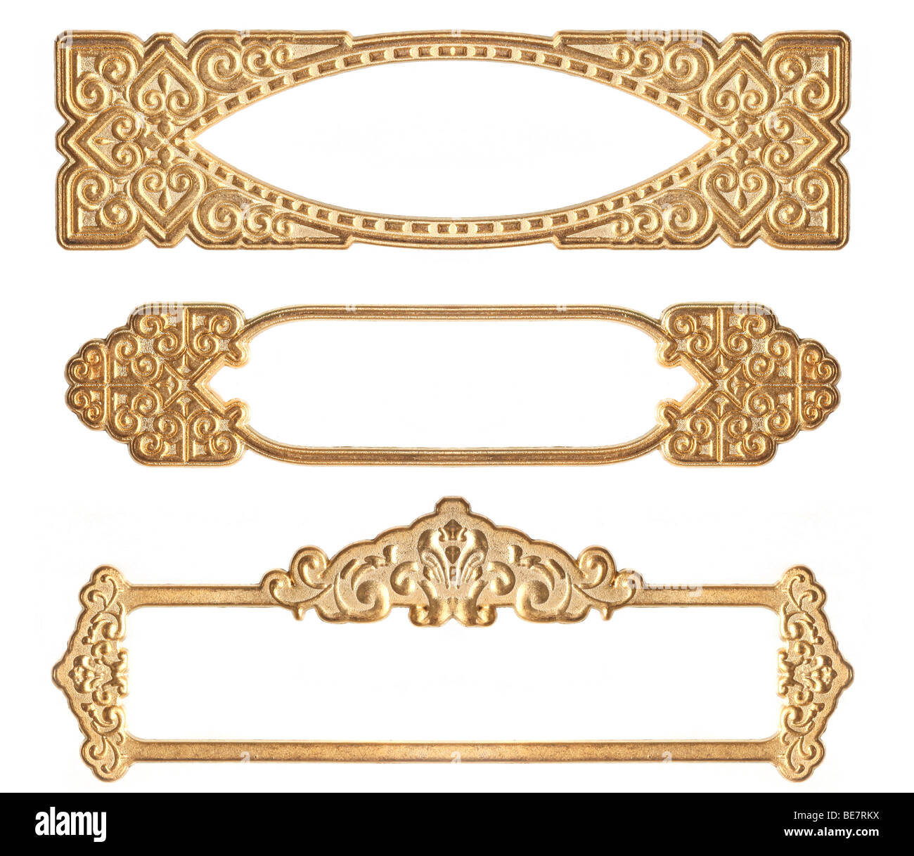 Three Golden Embossed Guilded Frames on White Background - Stock Image