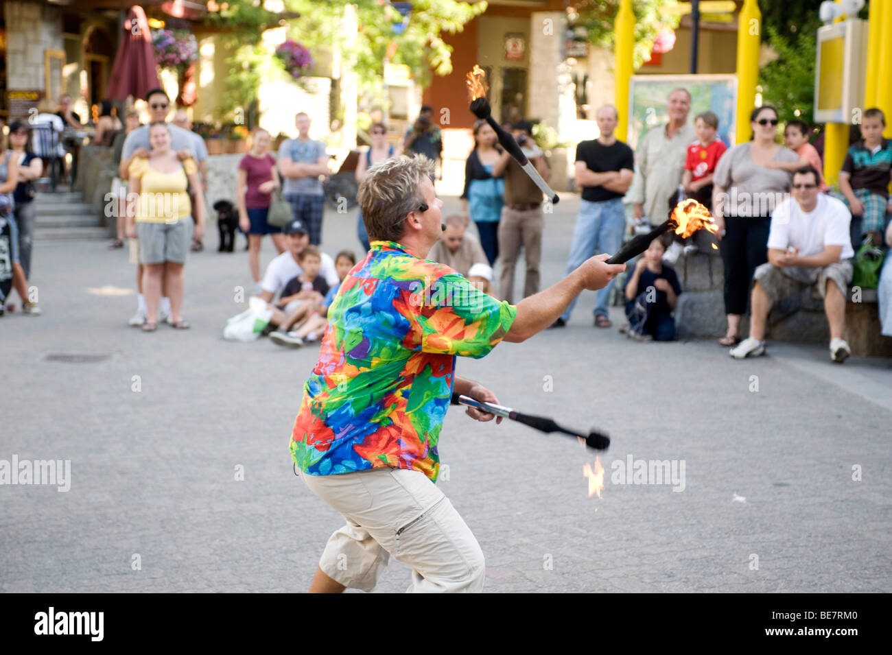 Street entertainer in the Whistler Village. Whistler BC, Canada. - Stock Image