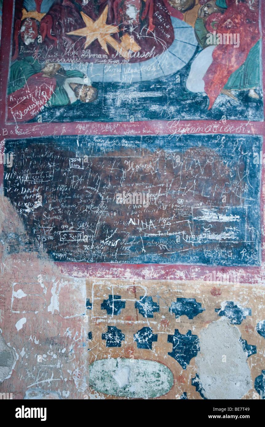 Vandalism on the historic monastery in Sucevita, Romania - Stock Image