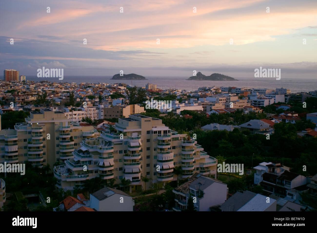 Aerial view of Barra da Tijuca, a classy neighborhood in Rio de Janeiro, Brazil - Stock Image
