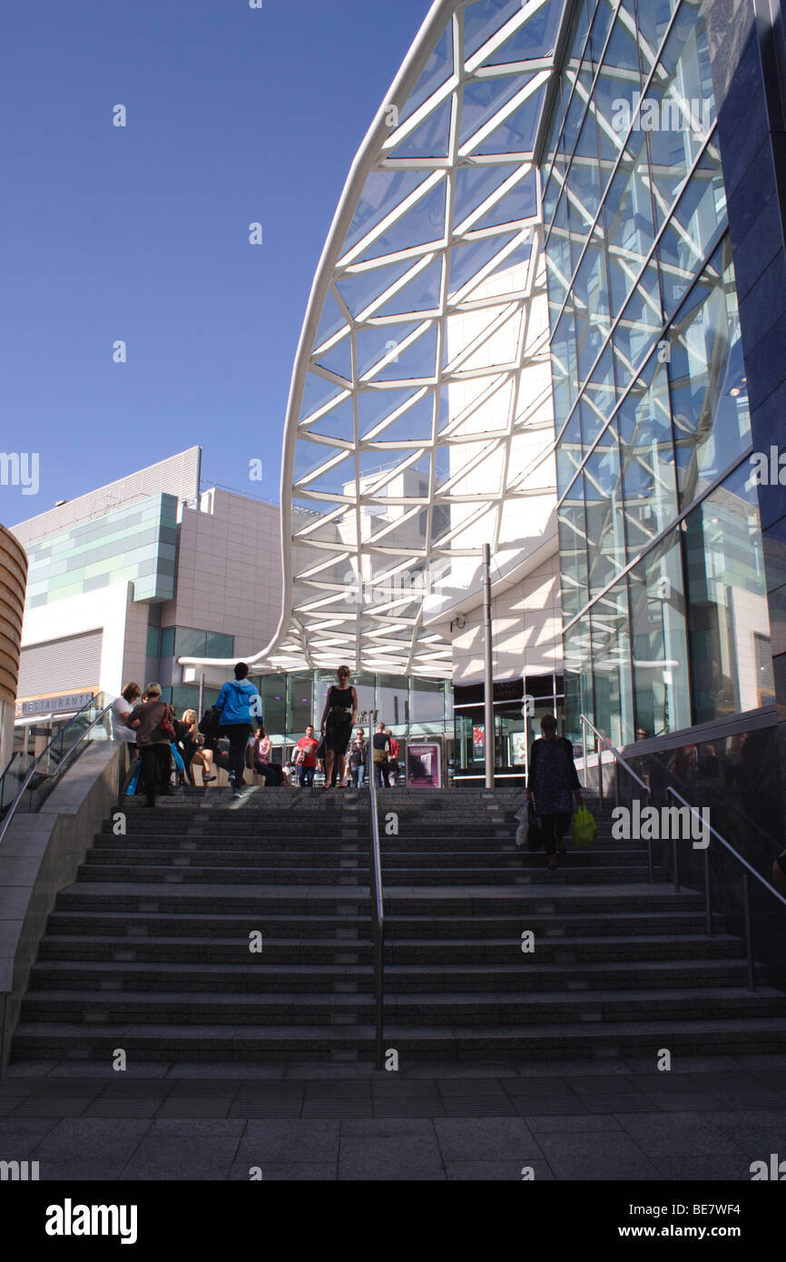 Stairway at Westfield Shopping Centre London - Stock Image