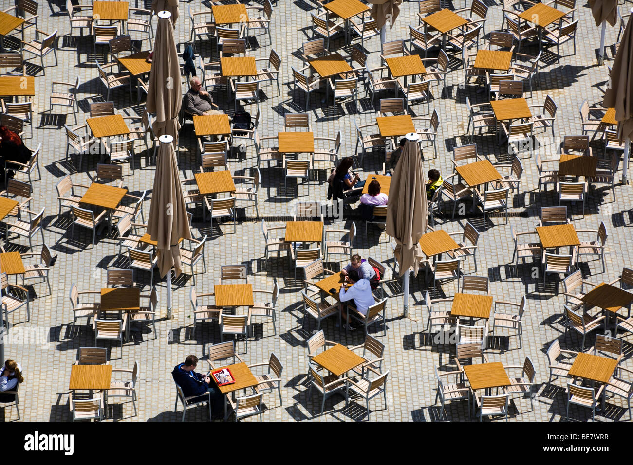 street cafe from above prager strasse street dresden germany stock photo 25989483 alamy. Black Bedroom Furniture Sets. Home Design Ideas