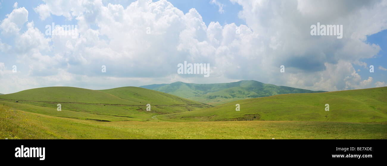 Panoramic image of mountain Zlatibor, famous tourist resort in Serbia. - Stock Image