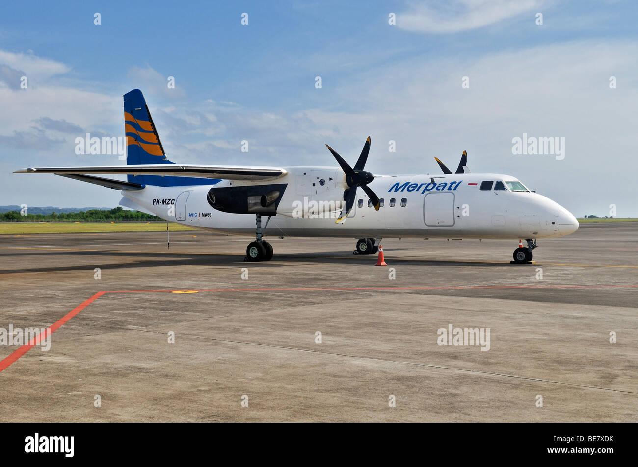 Merpati turboprop aircraft, airport, Denpasar, Bali, Indonesia, Southeast Asia - Stock Image