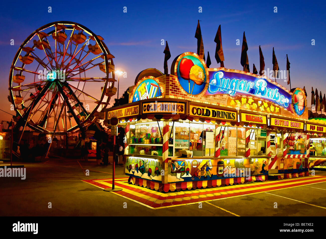 Painting Effect of Midway at Sunset at the Kentucky State Fair in Louisville - Stock Image