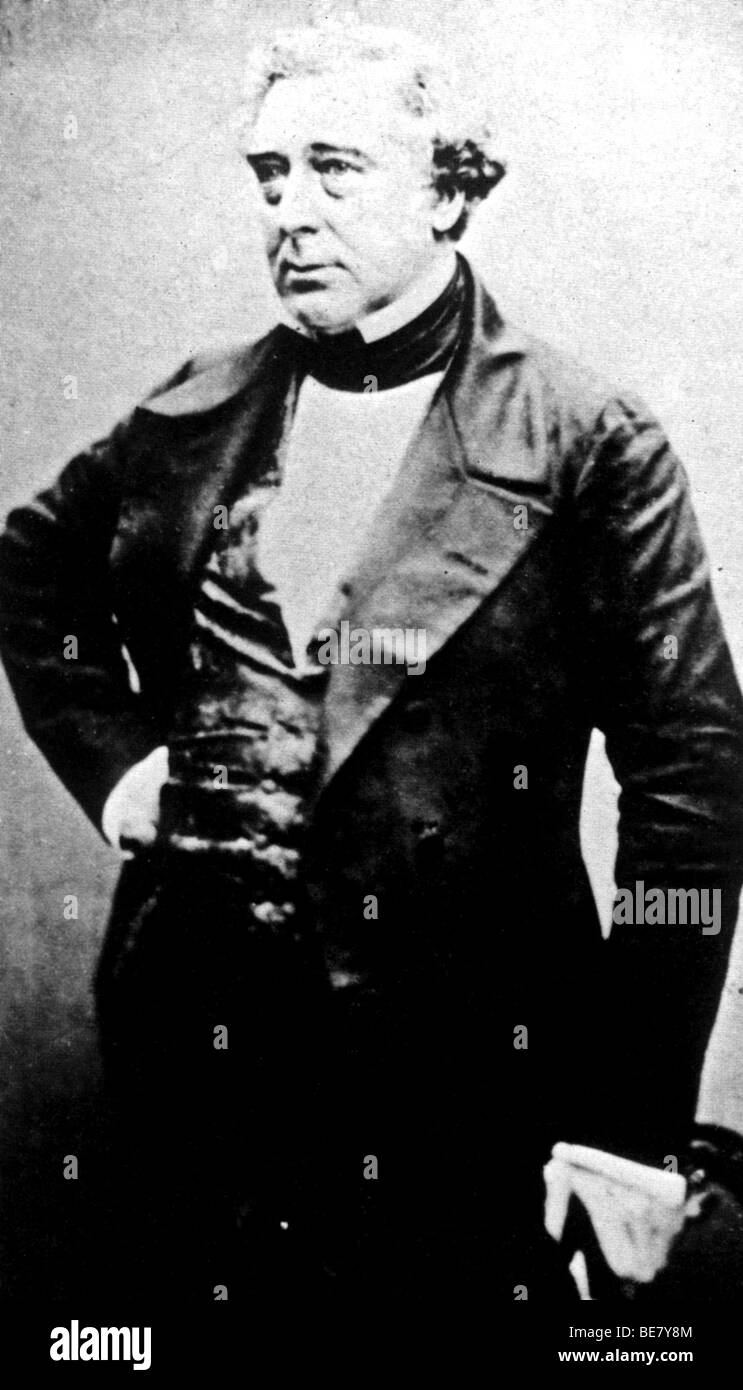 ROBERT STEPHENSON  - English railway engineer (1781-1848)  photographed in 1856  His Rocket engine reached 30 mph - Stock Image