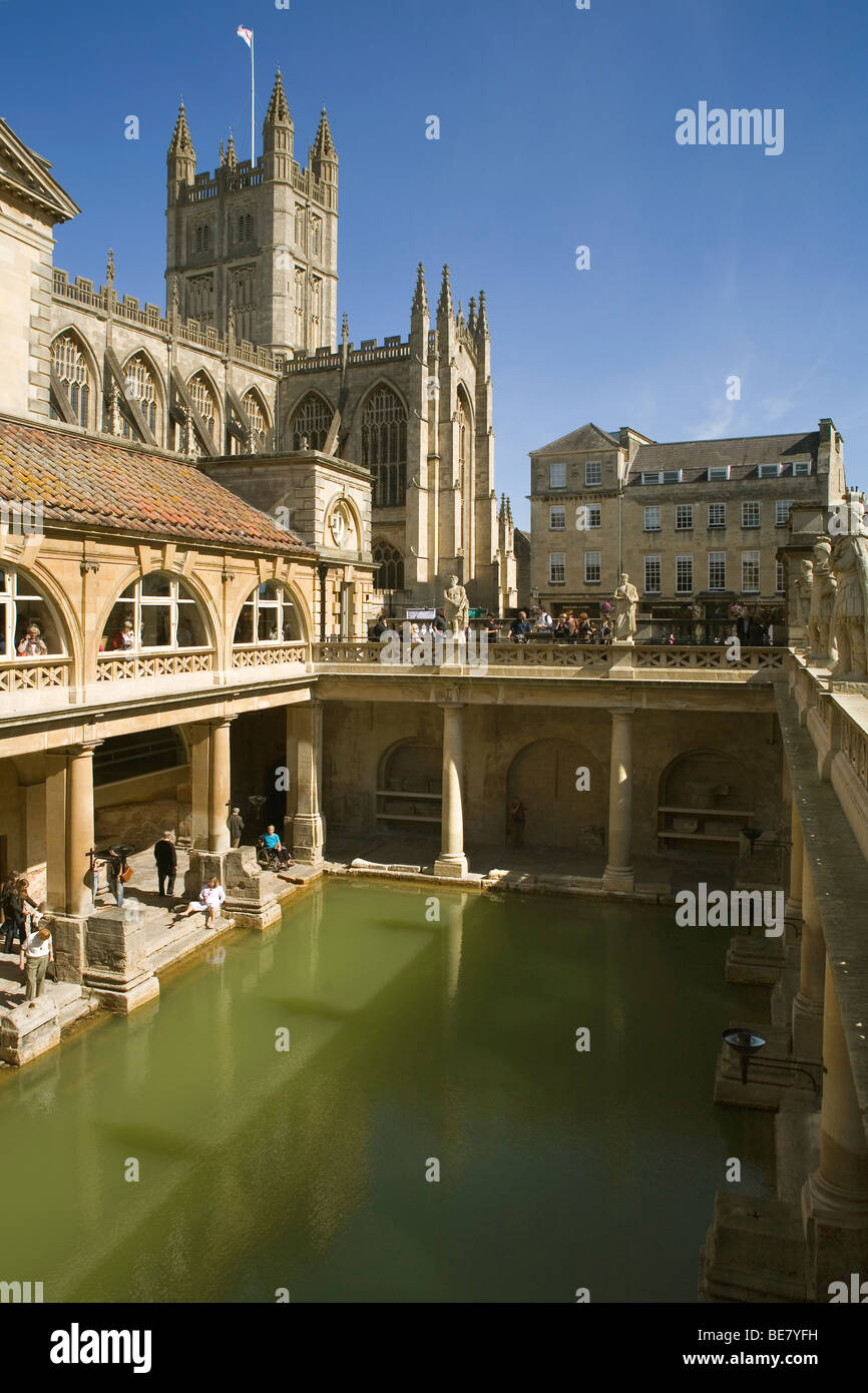 England Somerset Bath Roman baths & Abbey - Stock Image