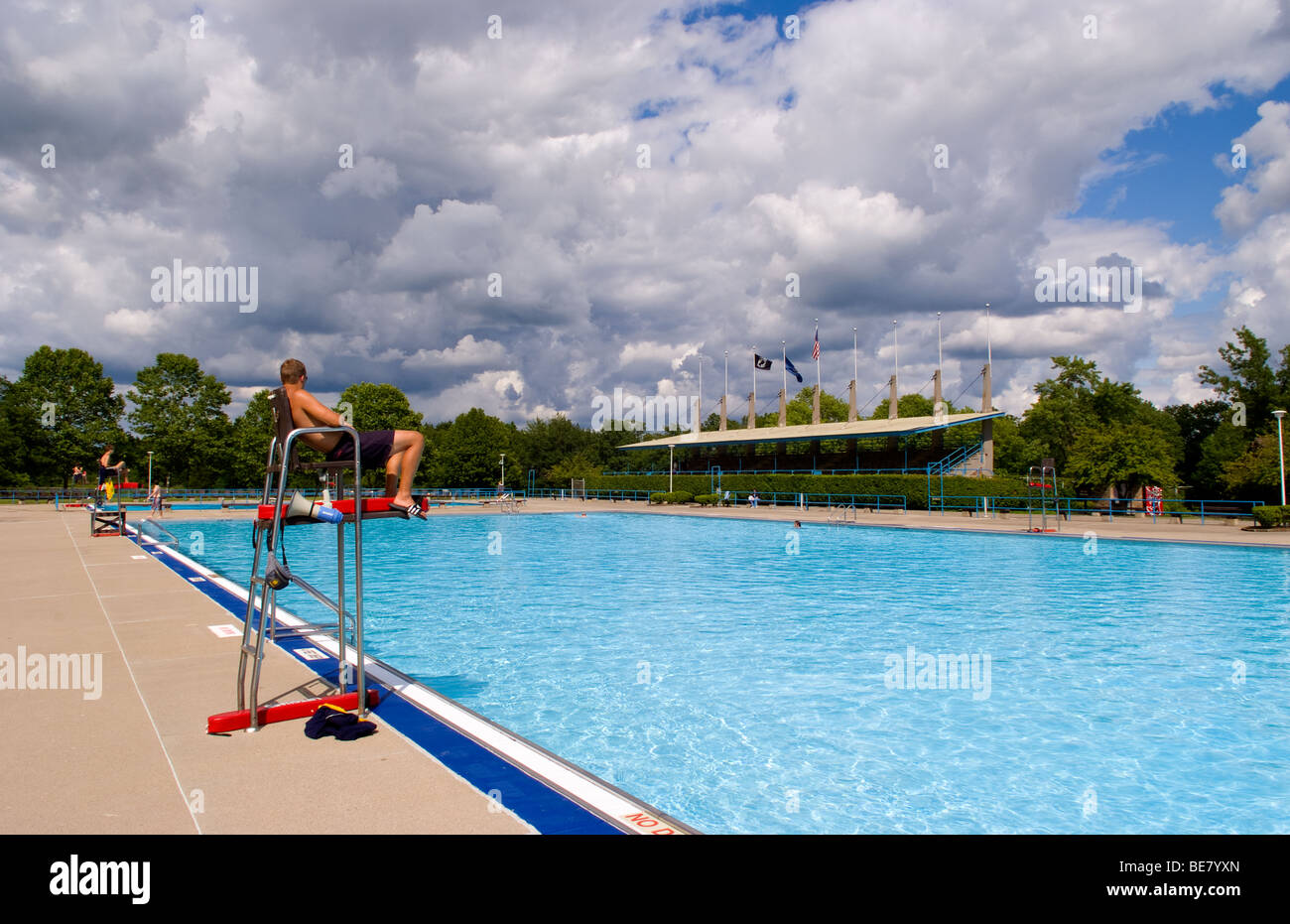 Large public swimming pool with life guard at Letchworth ...