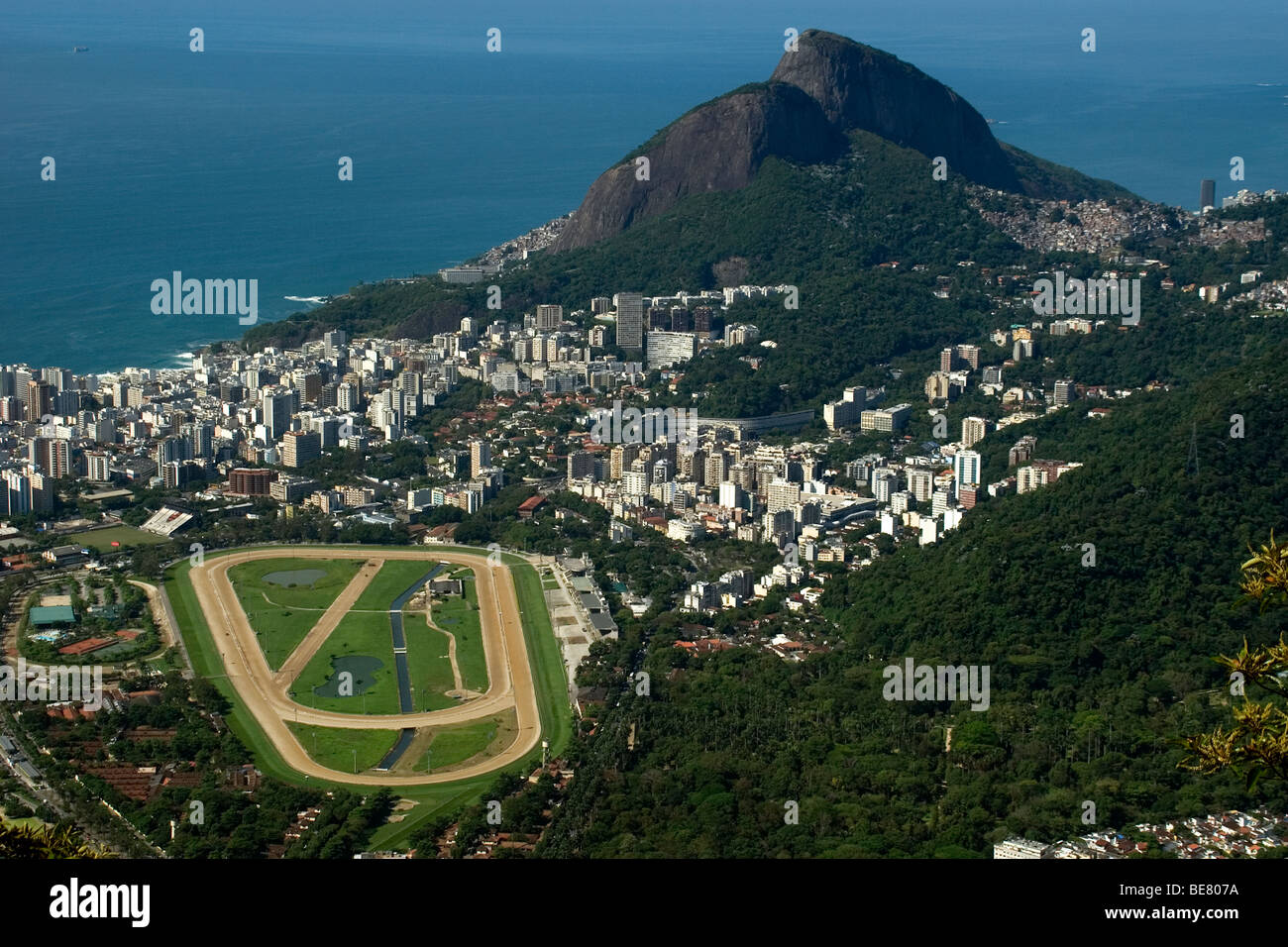 Aerial view from Jockey Club, Gavea neighborhood and Dois Irmaos Hill, Rio de Janeiro, Brazil - Stock Image