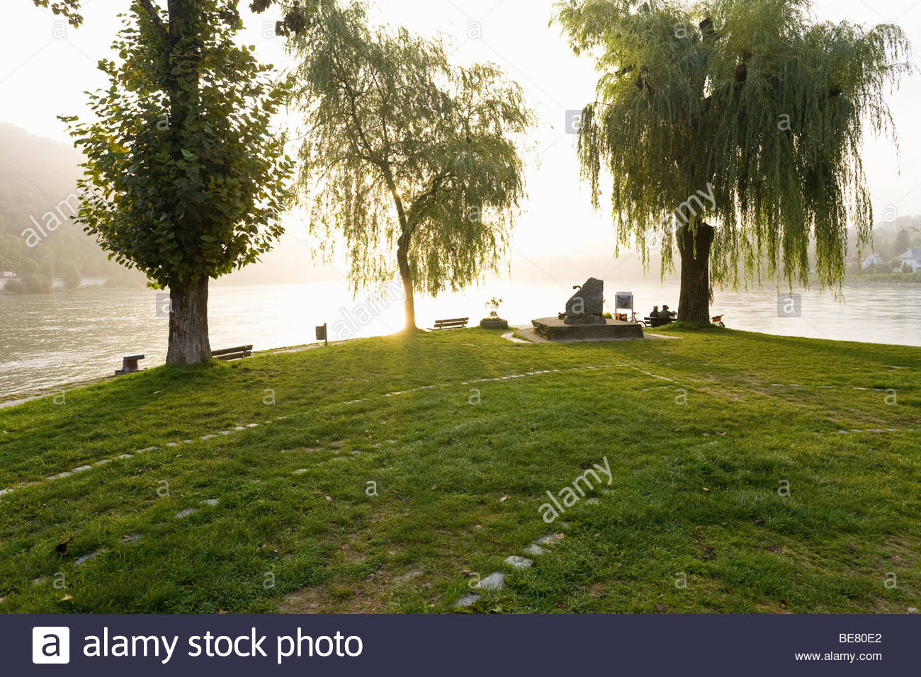 Place where the three rivers meet, the river Inn, Danube and Ilz, Passau, Bavaria, Germany - Stock Image