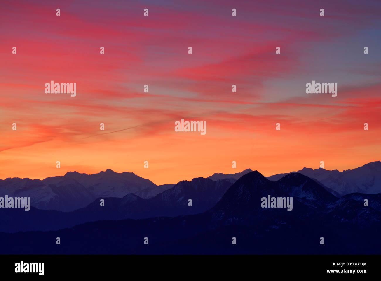 Aurora above Niedere Tauern range, Salzburg, Austria - Stock Image