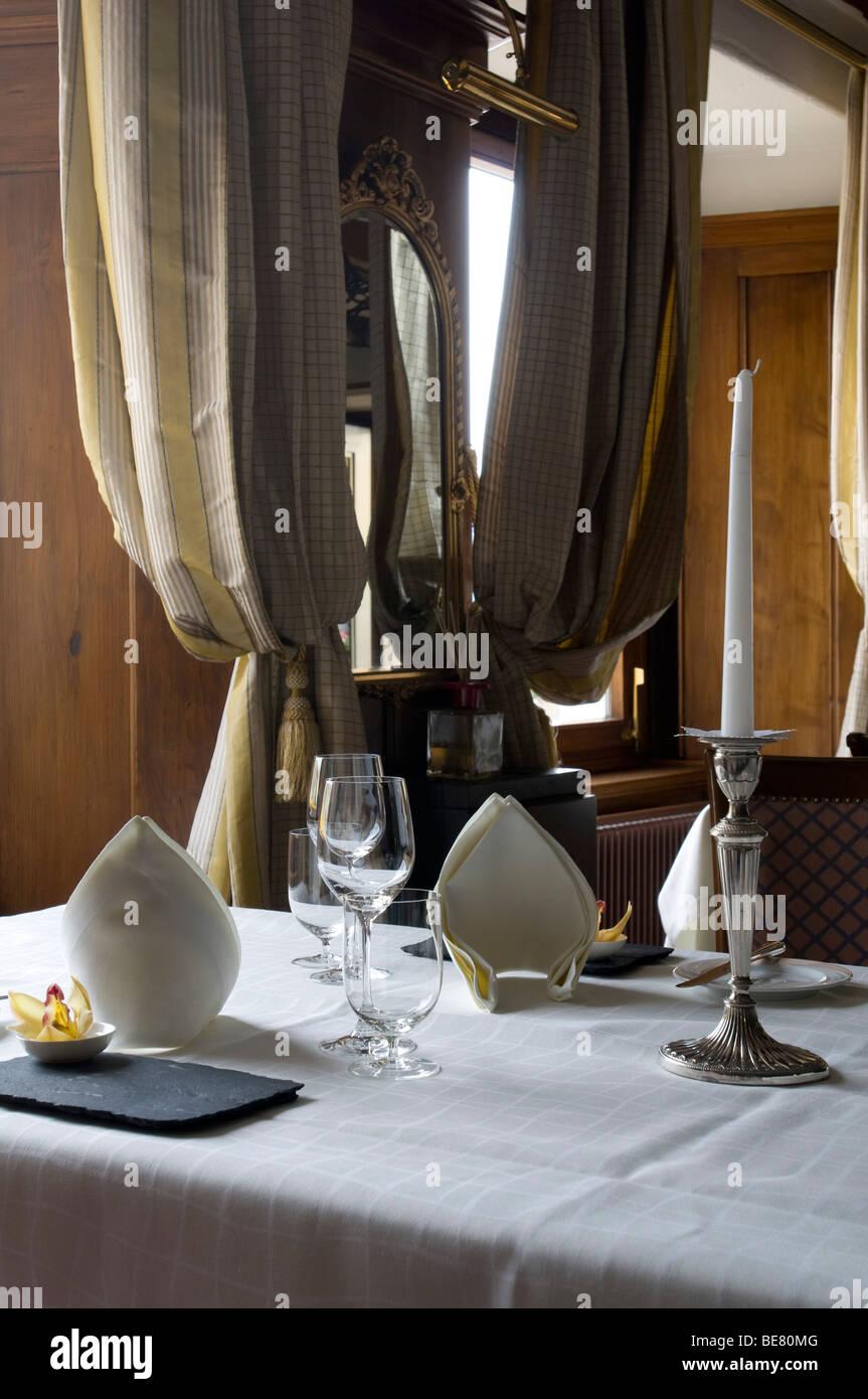 Ready laid table with table settings, Restaurant Hotel Fischerzunft, Schaffhausen, Switzerland - Stock Image