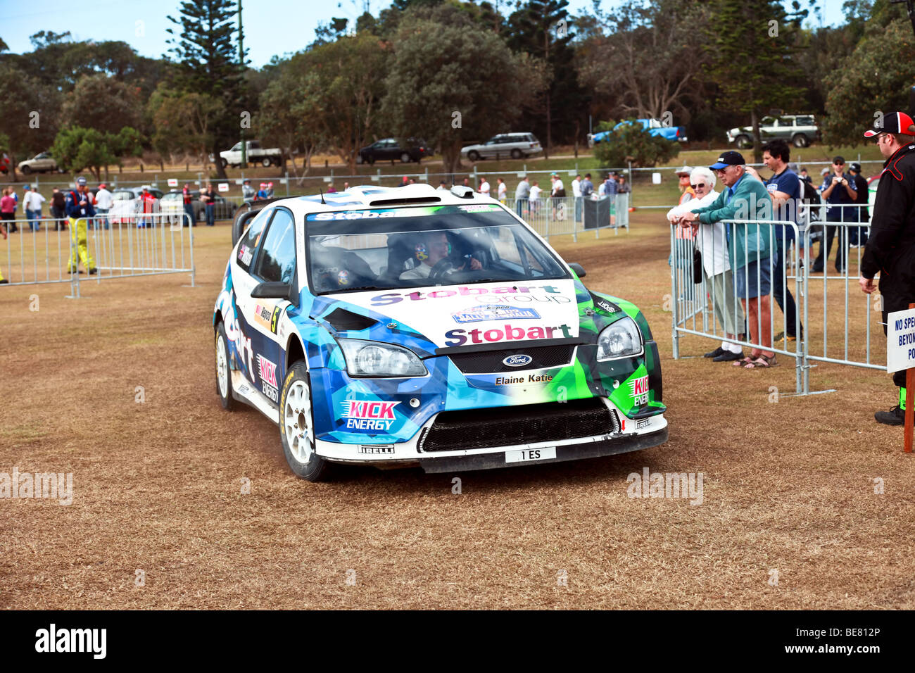 Motorsport/Rally Australia 2009/WRC rally car moving into its pit stop - Stock Image