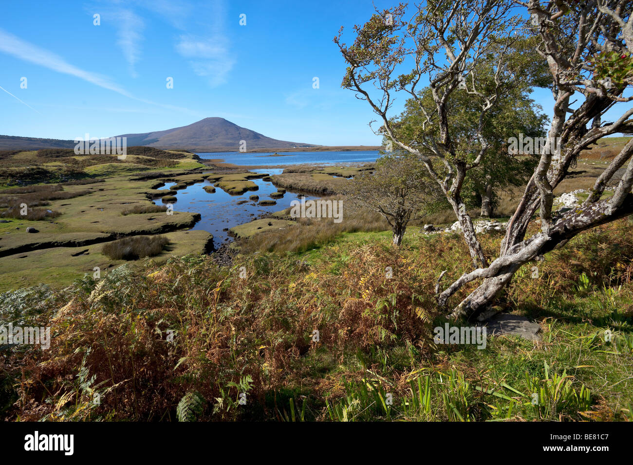 The mountain of slievemore on Achill island taken from the mainland in County Mayo - Stock Image