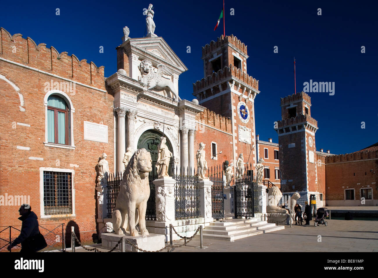 Entrance to the Arsenal, Arsenale di Venezia, former wharf of Venice, in 16th century the largest wharf in the world. - Stock Image