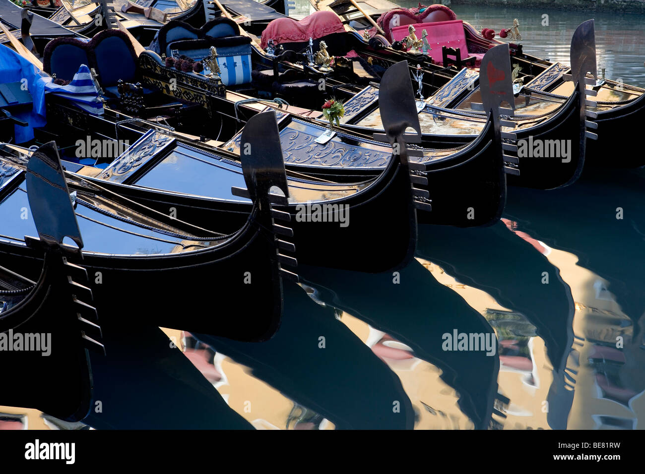 Gondolas at Bacino Orseolo (Servizio Gondole), Venice, Italy, Europe - Stock Image