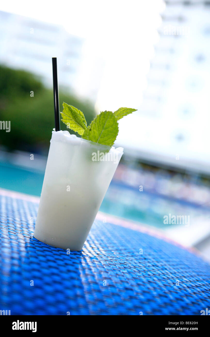 Cocktail with peppermint leaves, Sky Bar at the Shore Club Hotel, South Beach, Miami Beach, Florida, USA - Stock Image