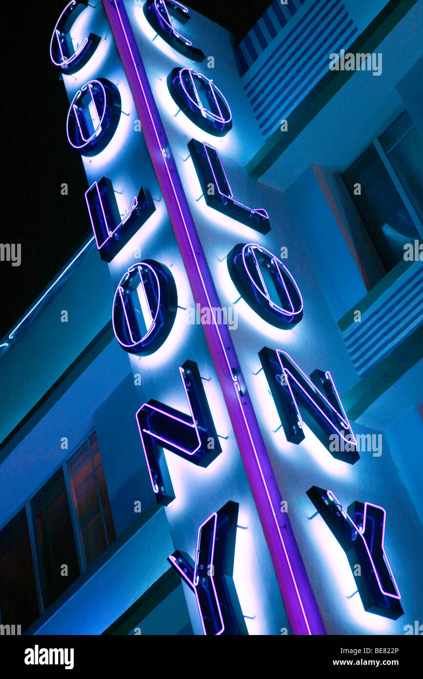 Neon sign at the Colony Hotel at night, Ocean Drive, South Beach, Miami Beach, Florida, USA - Stock Image