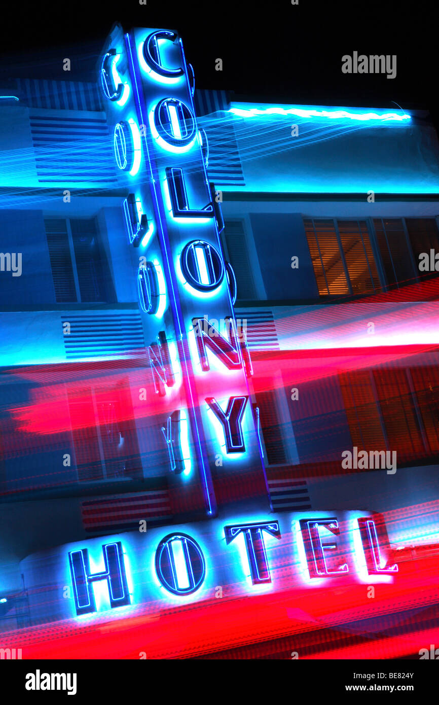 The neon sign of the Colony Hotel at night, South Beach, Miami Beach, Florida, USA - Stock Image