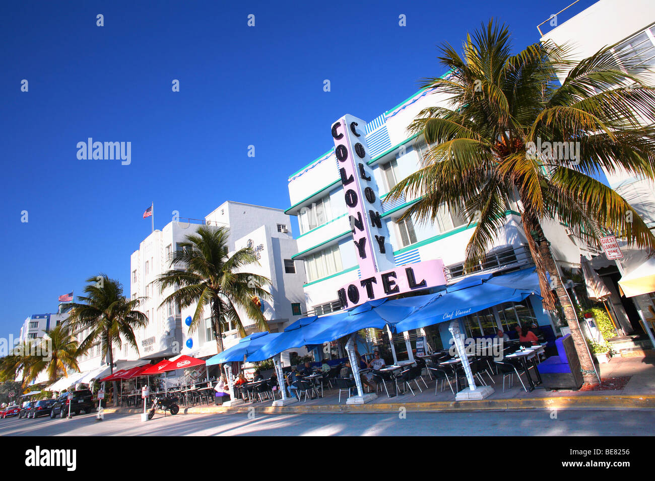 hotels on ocean drive under blue sky south beach miami. Black Bedroom Furniture Sets. Home Design Ideas