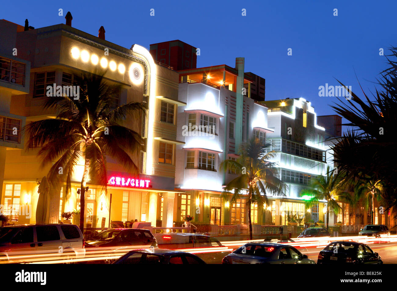 illuminated hotels on ocean drive at night, south beach