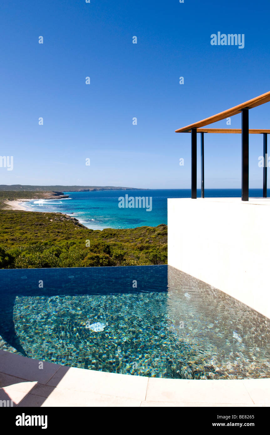 The deserted swimming pool of the Southern Ocean Lodge under blue sky, Hanson Bay, Kangaroo Island, South Australia, - Stock Image