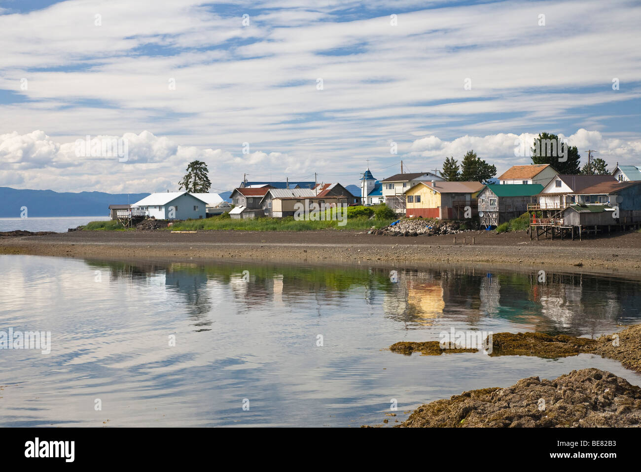 Houses on an island under cloudy sky, Kake, Inside Passage, Southeast Alaska, USA - Stock Image
