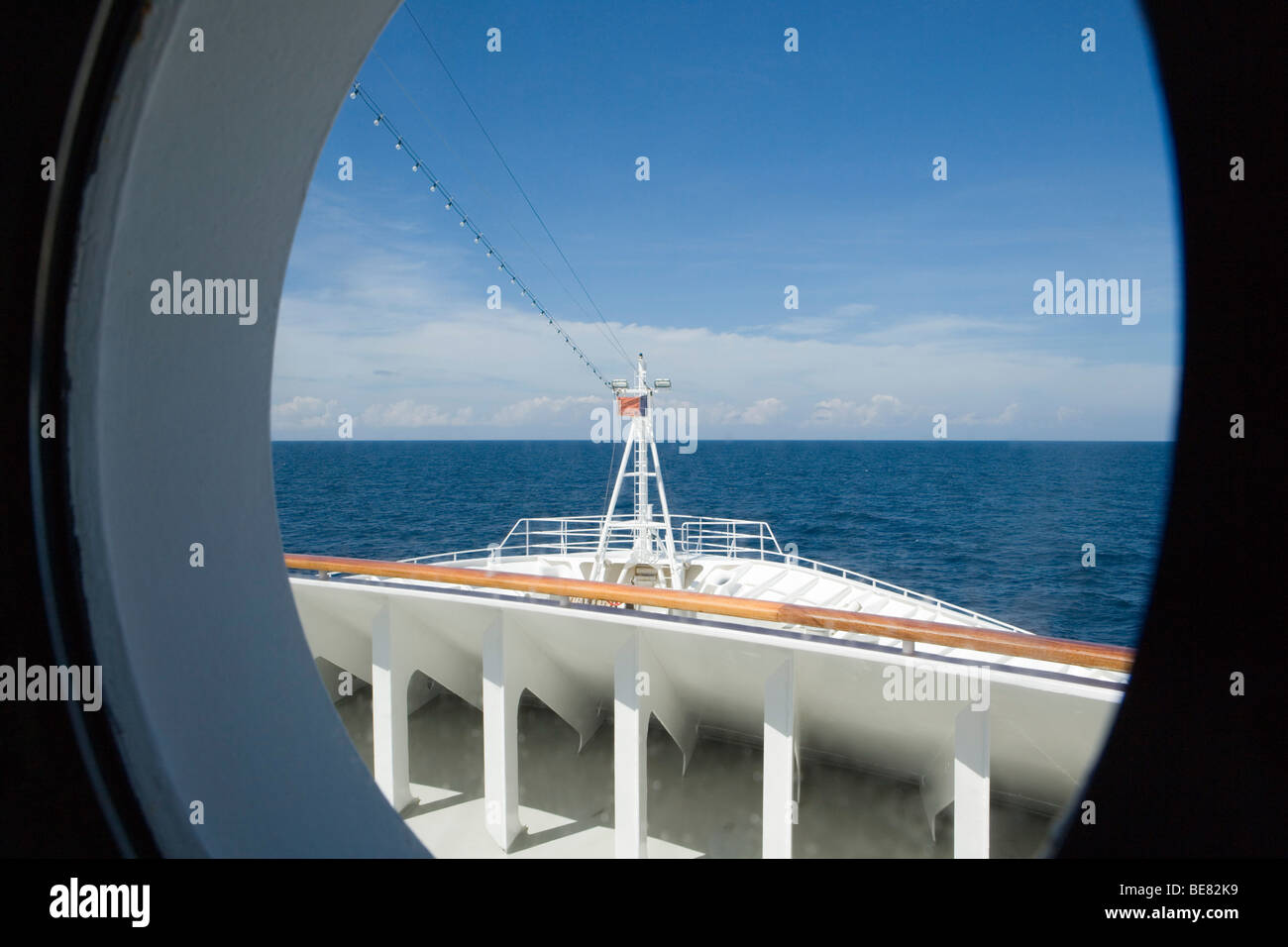 View of MS Columbus Bow, South China Sea, near Thailand, Asia - Stock Image
