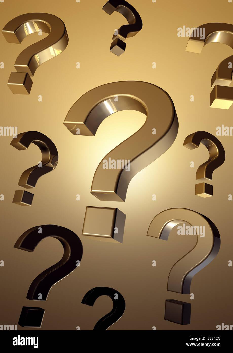 Flying Question Marks - Fliegende Fragezeichen - Stock Image