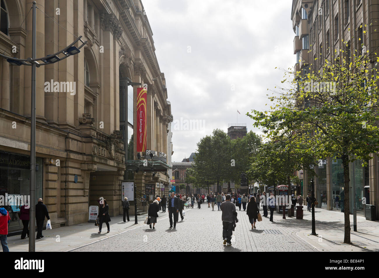 St Ann's Square with the Royal Exchange Theatre to the left, Manchester, England Stock Photo