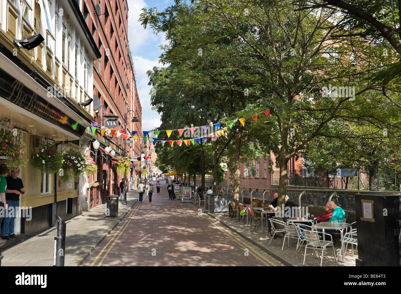 Pubs, Bars and Clubs along Canal Street in the Gay Village, City Centre, Manchester, England - Stock Image