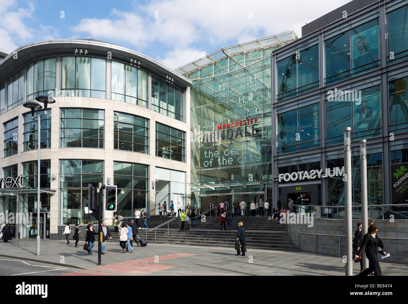 Entrance to the Arndale Centre in Exchange Square, Manchester, England - Stock Image